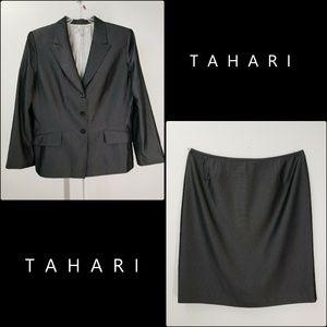 Tahari Woman Blazer Suit & Skirt Size 18 Gray